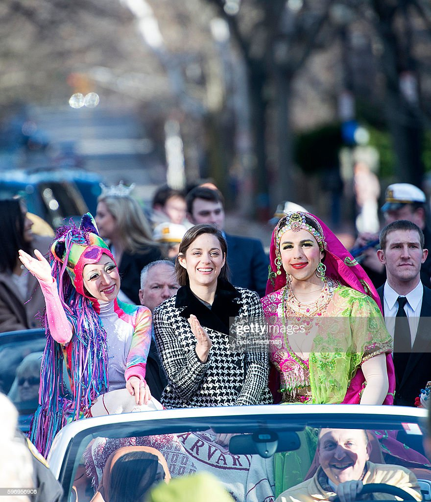 Actress Marion Cotillard Harvard's Hasty Pudding Theatricals Woman of the Year being paraded through Harvard Square during the annual parade with...