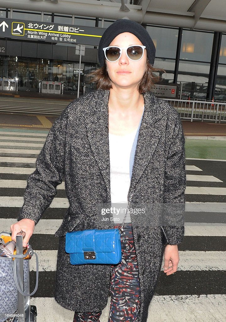 Actress Marion Cotillard is seen upon arrival at Narita International Airport on March 25, 2013 in Narita, Japan.