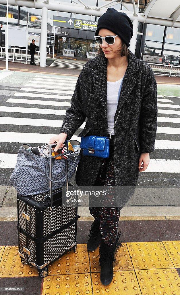 Actress Marion Cotillard is seen upon arrival at Narita International Airport on March 25, 2013 in Narita, Japan.