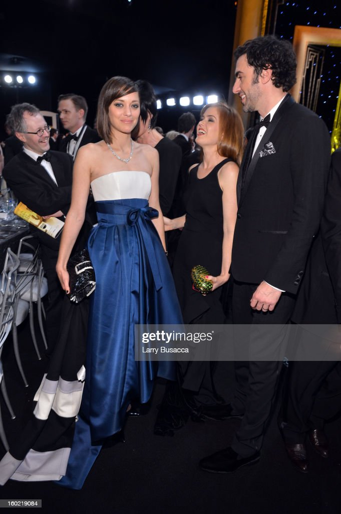 Actress Marion Cotillard, Isla Fisher, and Sacha Baron Cohen attend the 19th Annual Screen Actors Guild Awards at The Shrine Auditorium on January 27, 2013 in Los Angeles, California. (Photo by Larry Busacca/WireImage) 23116_018_2652.JPG
