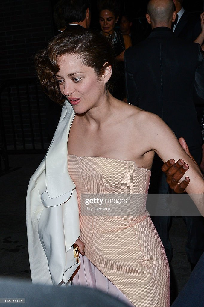 Actress Marion Cotillard leaves the 'PUNK: Chaos To Couture' Costume Institute Gala after party at the Standard Hotel on May 6, 2013 in New York City.