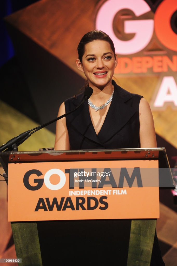 Actress <a gi-track='captionPersonalityLinkClicked' href=/galleries/search?phrase=Marion+Cotillard&family=editorial&specificpeople=215303 ng-click='$event.stopPropagation()'>Marion Cotillard</a> speaks at the 22nd Annual Gotham Independent Film Awards at Cipriani Wall Street on November 26, 2012 in New York City.