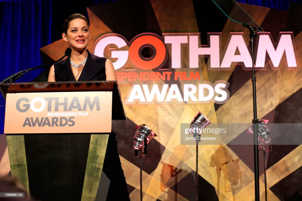 Actress Marion Cotillard speaks onstage at the IFP's 22nd Annual Gotham Independent Film Awards at Cipriani Wall Street on November 26, 2012 in New York City.