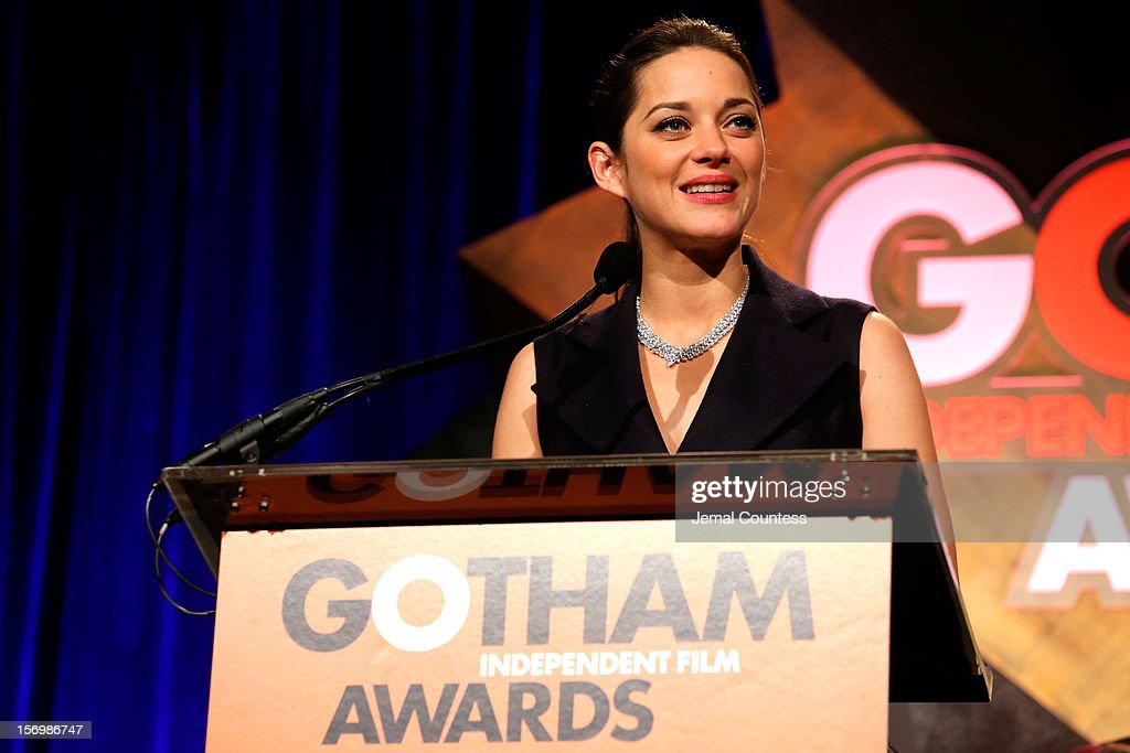 Actress <a gi-track='captionPersonalityLinkClicked' href=/galleries/search?phrase=Marion+Cotillard&family=editorial&specificpeople=215303 ng-click='$event.stopPropagation()'>Marion Cotillard</a> speaks onstage at the IFP's 22nd Annual Gotham Independent Film Awards at Cipriani Wall Street on November 26, 2012 in New York City.