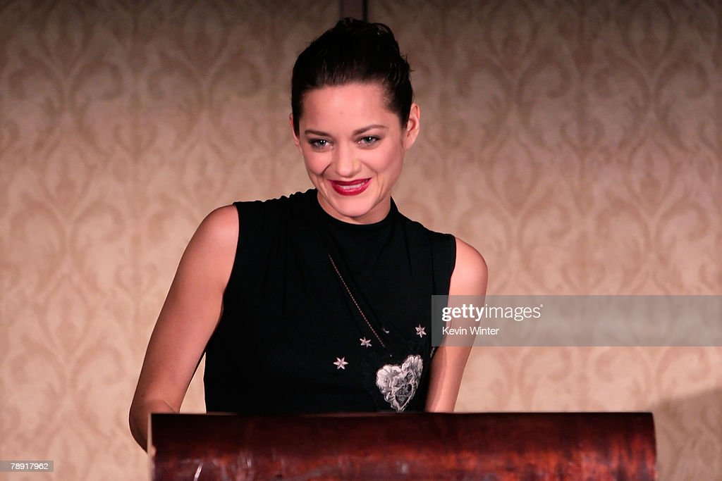 Actress <a gi-track='captionPersonalityLinkClicked' href=/galleries/search?phrase=Marion+Cotillard&family=editorial&specificpeople=215303 ng-click='$event.stopPropagation()'>Marion Cotillard</a> winner of the LA Film Critic's Actress Award for 'La Vie en Rose' speaks at the 2007 LA Film Critic's Choice Awards held at the InterContinental on January 12, 2008 in Los Angeles, California.