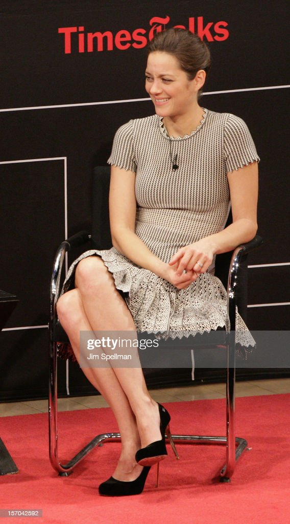 Actress <a gi-track='captionPersonalityLinkClicked' href=/galleries/search?phrase=Marion+Cotillard&family=editorial&specificpeople=215303 ng-click='$event.stopPropagation()'>Marion Cotillard</a>attends TimesTalk Presents An Evening With <a gi-track='captionPersonalityLinkClicked' href=/galleries/search?phrase=Marion+Cotillard&family=editorial&specificpeople=215303 ng-click='$event.stopPropagation()'>Marion Cotillard</a>, Matt Damon & Gus Van Sant at TheTimesCenter on November 27, 2012 in New York City.