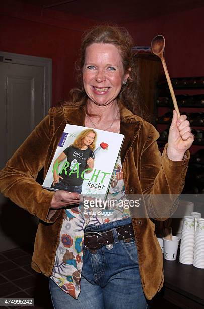 Actress Marion Kracht poses during the presentation of her cookbook 'Kracht kocht vegan' on May 28 2015 in Berlin Germany