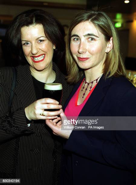 Actress Marion O'Dwyer and the Festival's director Shauna Kelpie share a pint of Guinness at the premiere of Agnes Brown at the 2nd Irish Film...