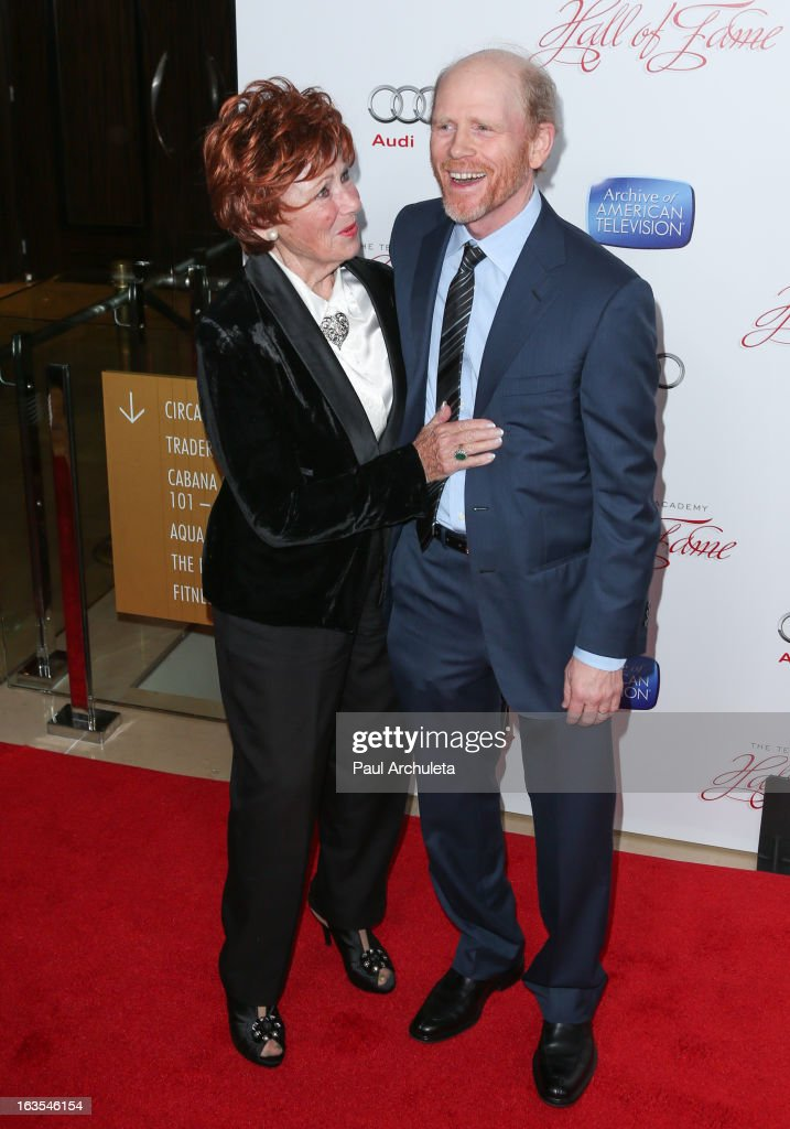 Actress <a gi-track='captionPersonalityLinkClicked' href=/galleries/search?phrase=Marion+Ross&family=editorial&specificpeople=240317 ng-click='$event.stopPropagation()'>Marion Ross</a> (L) and Director <a gi-track='captionPersonalityLinkClicked' href=/galleries/search?phrase=Ron+Howard+-+Director&family=editorial&specificpeople=201972 ng-click='$event.stopPropagation()'>Ron Howard</a> (R) attend the Academy Of Television Arts & Sciences 22nd annual Hall Of Fame induction gala at The Beverly Hilton Hotel on March 11, 2013 in Beverly Hills, California.