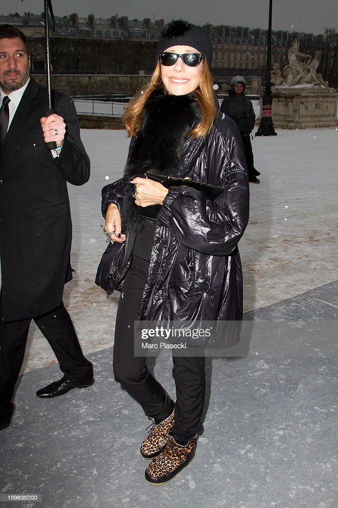 Actress Marisa Berenson is seen leaving the Christian Dior Spring/Summer 2013 Haute-Couture show as part of Paris Fashion Week at on January 21, 2013 in Paris, France.