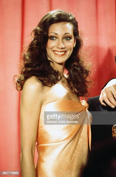 Actress Marisa Berenson poses backstage during the 48th Academy Awards at Dorothy Chandler Pavilion in Los AngelesCalifornia