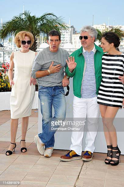 Actress Marisa Paredesactor Antonio Banderasdirector Pedro Almodovar and actress Elena Anaya attend 'The Skin I Live In' Photocall during the 64th...