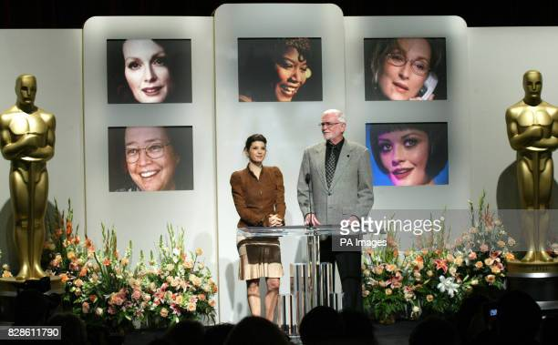 Actress Marisa Tomei and Academy of Motion Picture Arts and Sciences President Frank Pierson announce the 'Best Supporting Actress' nominations for...