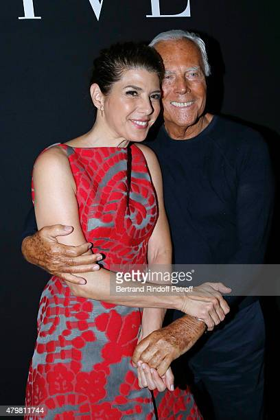 Actress Marisa Tomei and Giorgio Armani pose Backstage after the Giorgio Armani Prive show as part of Paris Fashion Week HauteCouture Fall/Winter...