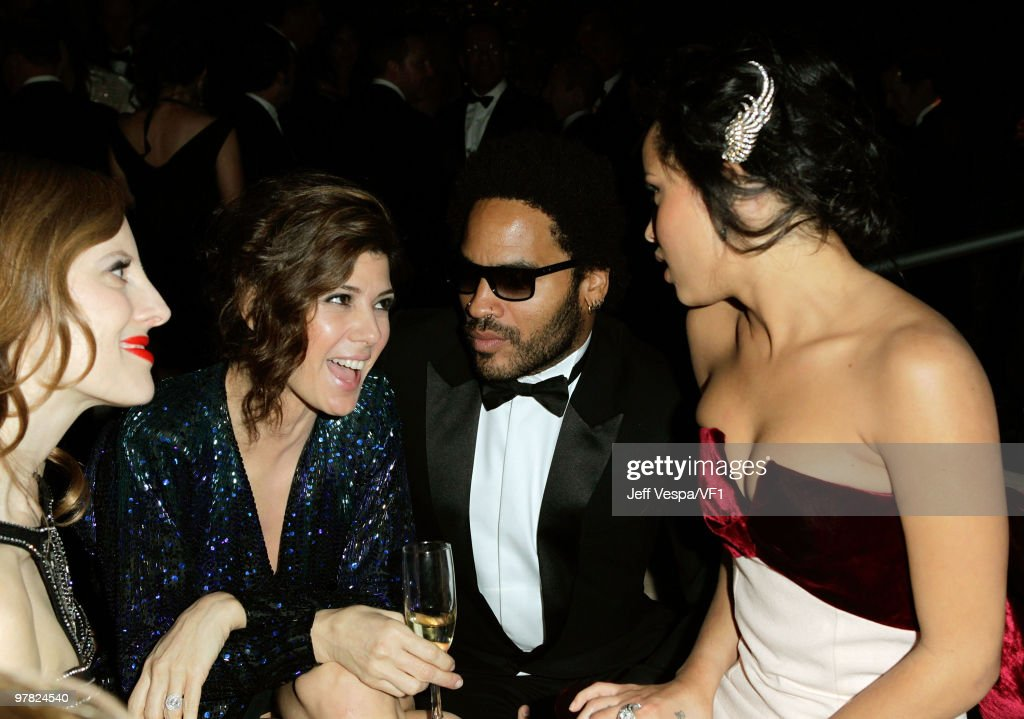 *EXCLUSIVE* (L-R) Actress Marisa Tomei and musicians Lenny Kravitz and Zoe Kravitz attend the 2010 Vanity Fair Oscar Party hosted by Graydon Carter at the Sunset Tower Hotel on March 7, 2010 in West Hollywood, California.