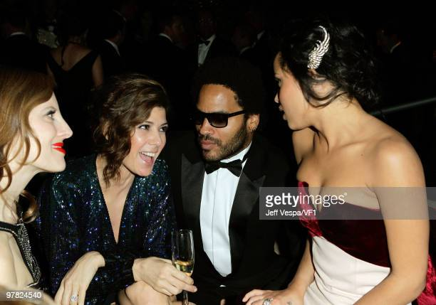 WEST HOLLYWOOD CA MARCH 07 *EXCLUSIVE* Actress Marisa Tomei and musicians Lenny Kravitz and Zoe Kravitz attend the 2010 Vanity Fair Oscar Party...