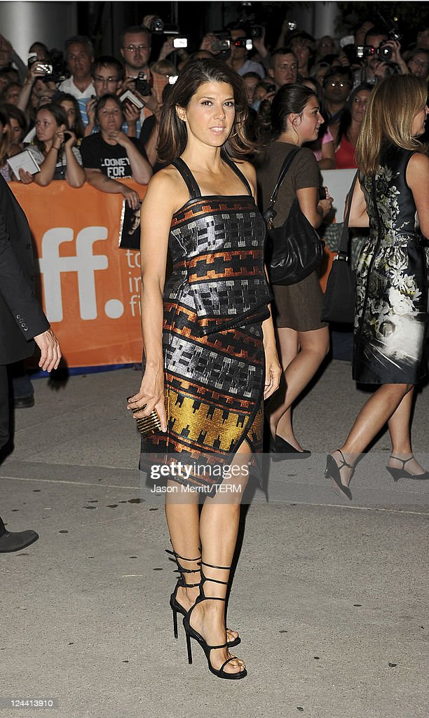 Actress <a gi-track='captionPersonalityLinkClicked' href=/galleries/search?phrase=Marisa+Tomei&family=editorial&specificpeople=201516 ng-click='$event.stopPropagation()'>Marisa Tomei</a> arrives at 'Ides Of March' Premiere at Roy Thomson Hall during the 2011 Toronto International Film Festival on September 9, 2011 in Toronto, Canada.