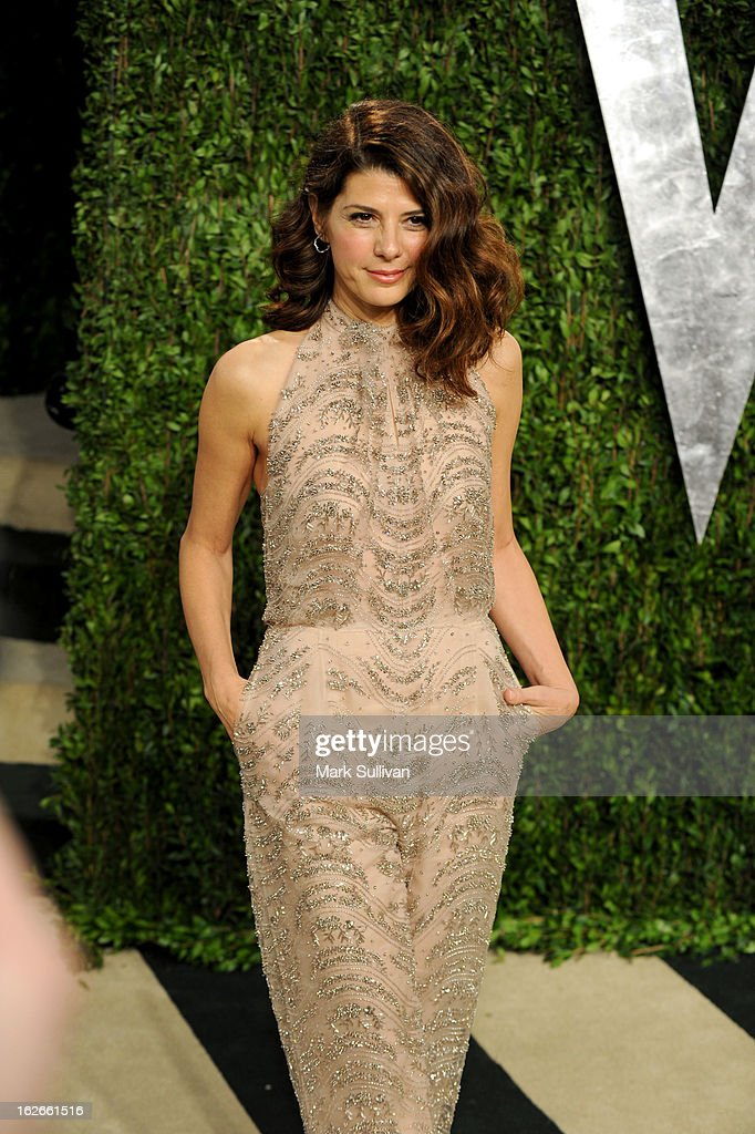 Actress Marisa Tomei arrives at the 2013 Vanity Fair Oscar Party at Sunset Tower on February 24, 2013 in West Hollywood, California.