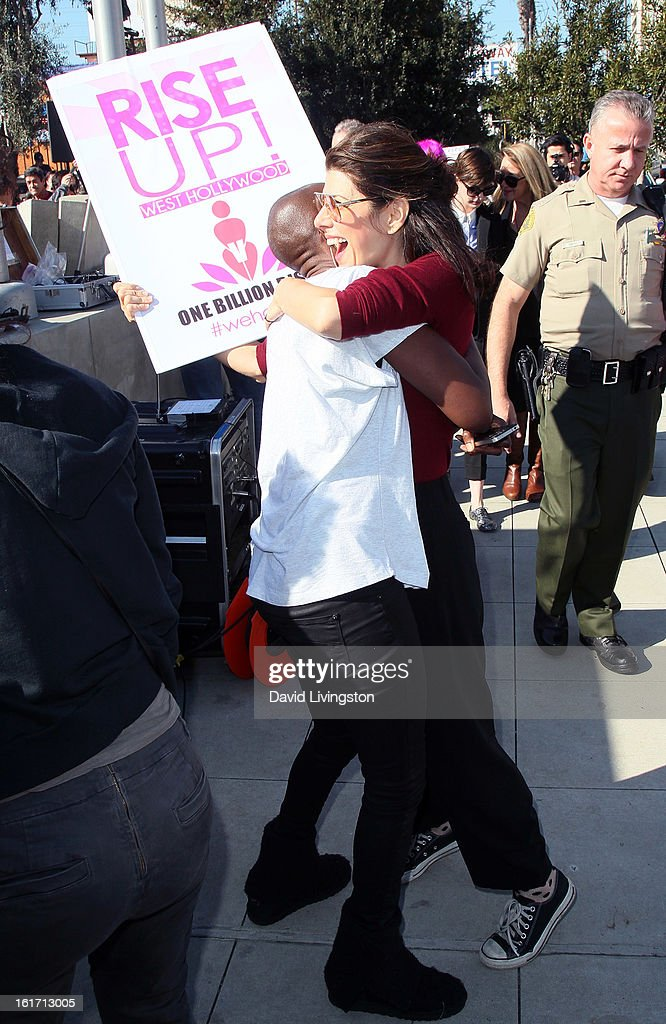 Actress Marisa Tomei (R) attends the kick-off for One Billion Rising in West Hollywood on February 14, 2013 in West Hollywood, California.