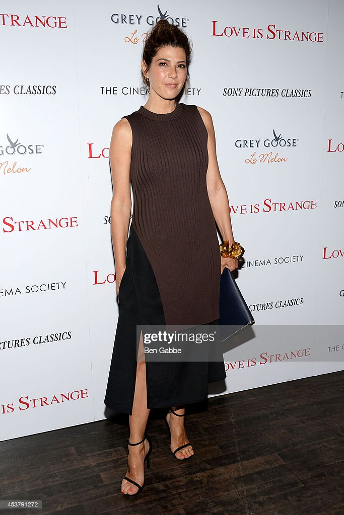 Actress <a gi-track='captionPersonalityLinkClicked' href=/galleries/search?phrase=Marisa+Tomei&family=editorial&specificpeople=201516 ng-click='$event.stopPropagation()'>Marisa Tomei</a> attends the Sony Pictures Classics With The Cinema Society & Grey Goose screening of 'Love Is Strange' at Tribeca Grand Hotel on August 18, 2014 in New York City.