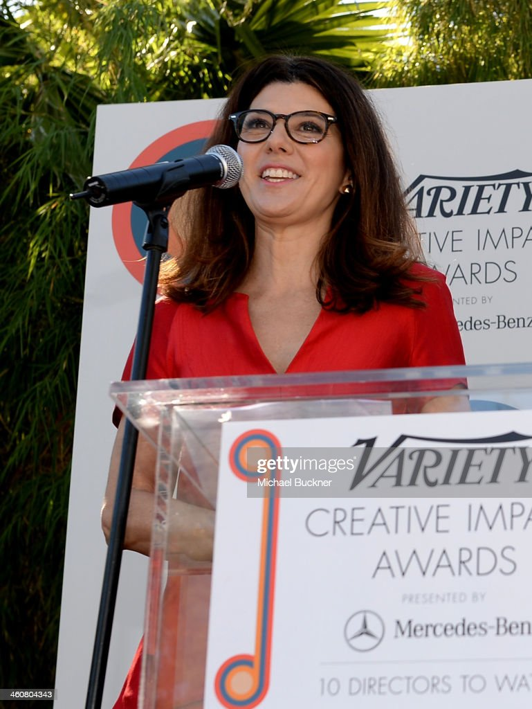 Actress <a gi-track='captionPersonalityLinkClicked' href=/galleries/search?phrase=Marisa+Tomei&family=editorial&specificpeople=201516 ng-click='$event.stopPropagation()'>Marisa Tomei</a> attends Variety's Creative Impact Awards and 10 Directors to Watch brunch presented by Mercedes-Benz at The 25th Annual Palm Springs International Film Festival at Parker Palm Springs on January 5, 2014 in Palm Springs, California.