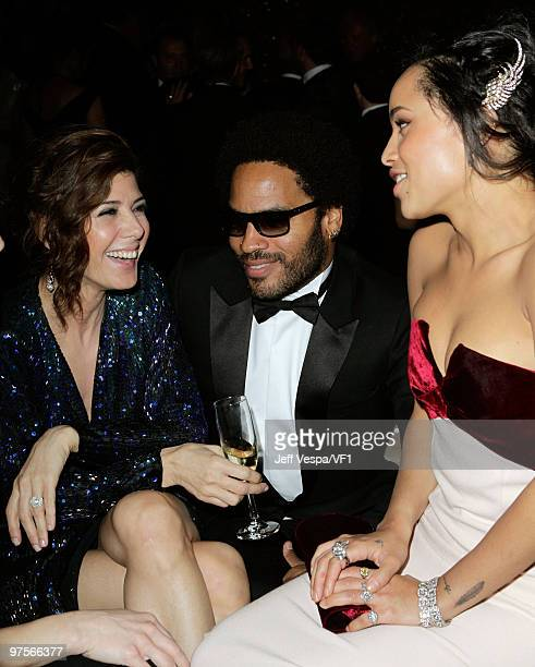 WEST HOLLYWOOD CA MARCH 07 *EXCLUSIVE* Actress Marisa Tomei musician Lenny Kravitz and singer Zoe Kravitz attend the 2010 Vanity Fair Oscar Party...