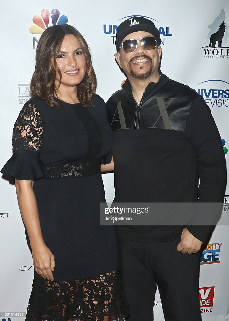Actress Mariska Hargitay and actor/rapper Ice-T attend the TV Guide celebrates Mariska Hargitay at Gansevoort Park Avenue on January 11, 2017 in New York City.