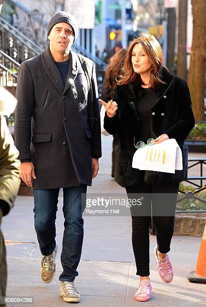 Actress Mariska Hargitay and Bobby Cannavale are seen on the set of Law Order Special Victims Unit in Soho on January 21 2016 in New York City