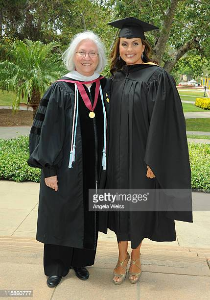 Actress Mariska Hargitay and dean Teri Schwartz attend the 2011 UCLA School of Theater Film And Television Commencement at UCLA Campus on June 10...