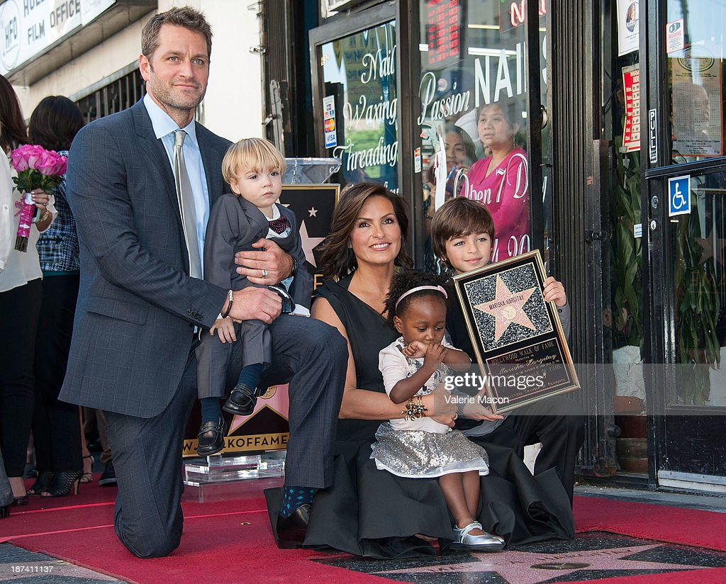 Actress <a gi-track='captionPersonalityLinkClicked' href=/galleries/search?phrase=Mariska+Hargitay&family=editorial&specificpeople=204727 ng-click='$event.stopPropagation()'>Mariska Hargitay</a> and her family attend the ceremony honoring <a gi-track='captionPersonalityLinkClicked' href=/galleries/search?phrase=Mariska+Hargitay&family=editorial&specificpeople=204727 ng-click='$event.stopPropagation()'>Mariska Hargitay</a> with a Star on The Hollywood Walk of Fame on November 8, 2013 in Hollywood, California.