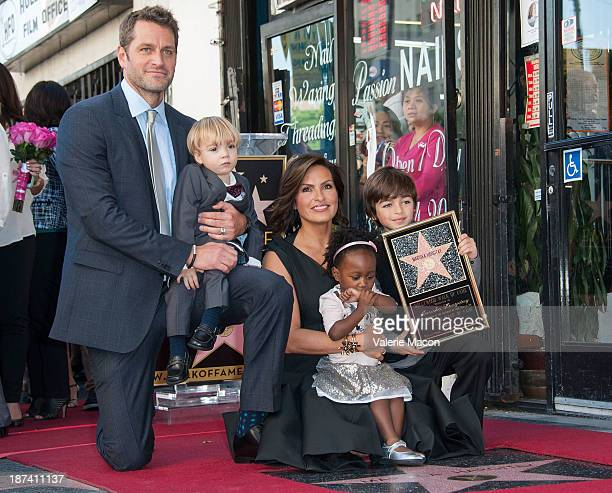 Actress Mariska Hargitay and her family attend the ceremony honoring Mariska Hargitay with a Star on The Hollywood Walk of Fame on November 8 2013 in...