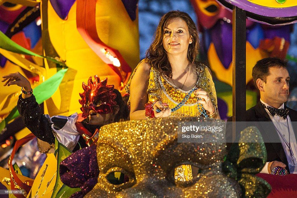 Actress Mariska Hargitay riding in the 2013 Krewe of Orpheus Mardi Gras Parade on February 11, 2013 in New Orleans, Louisiana.