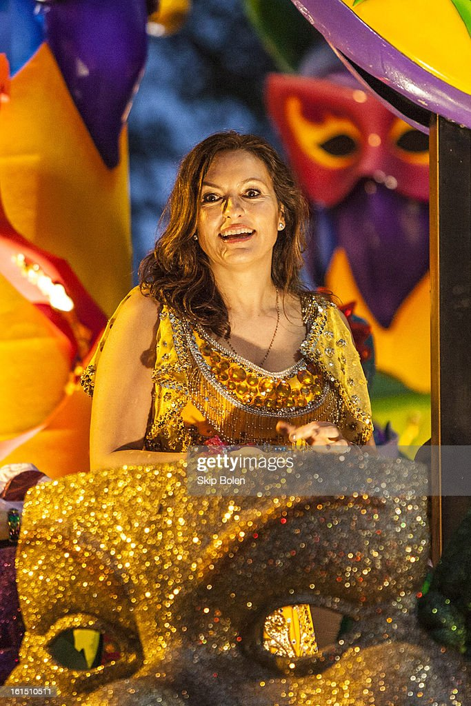 Actress <a gi-track='captionPersonalityLinkClicked' href=/galleries/search?phrase=Mariska+Hargitay&family=editorial&specificpeople=204727 ng-click='$event.stopPropagation()'>Mariska Hargitay</a> riding in the 2013 Krewe of Orpheus Mardi Gras Parade on February 11, 2013 in New Orleans, Louisiana.