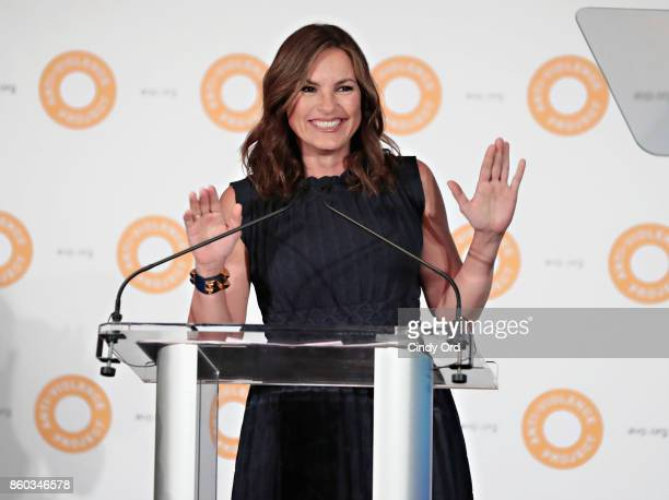 Actress Mariska Hargitay speaks during the 2017 AntiViolence Project Courage Awards at Pier 59 on October 11 2017 in New York City