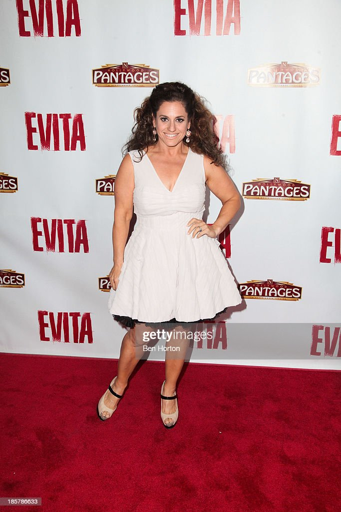 Actress <a gi-track='captionPersonalityLinkClicked' href=/galleries/search?phrase=Marissa+Jaret+Winokur&family=editorial&specificpeople=206425 ng-click='$event.stopPropagation()'>Marissa Jaret Winokur</a> attends the 'Evita' Los Angeles opening night at the Pantages Theatre on October 24, 2013 in Hollywood, California.