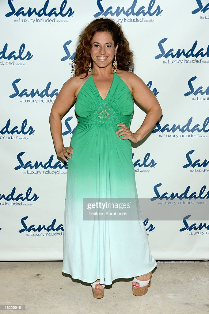 Actress <a gi-track='captionPersonalityLinkClicked' href=/galleries/search?phrase=Marissa+Jaret+Winokur&family=editorial&specificpeople=206425 ng-click='$event.stopPropagation()'>Marissa Jaret Winokur</a> attends the Happy Hour Welcome Reception & Discovery Dining Dinner during Day Two of the Sandals Emerald Bay Celebrity Getaway And Golf Weekend on September 28, 2013 at Sandals Emerald Bay in Great Exuma, Bahamas.