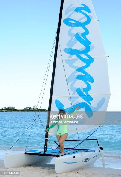 Actress Marissa Jaret Winokur enjoys the beach at Sandals Emerald Bay after the Greg Norman and Golf Tournament during Day Three of the Sandals...