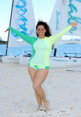 Actress Marissa Jaret Winokur enjoys the beach at Sandals Emerald Bay after the Golf Clinic with Greg Norman and Golf Tournament during Day Three of...
