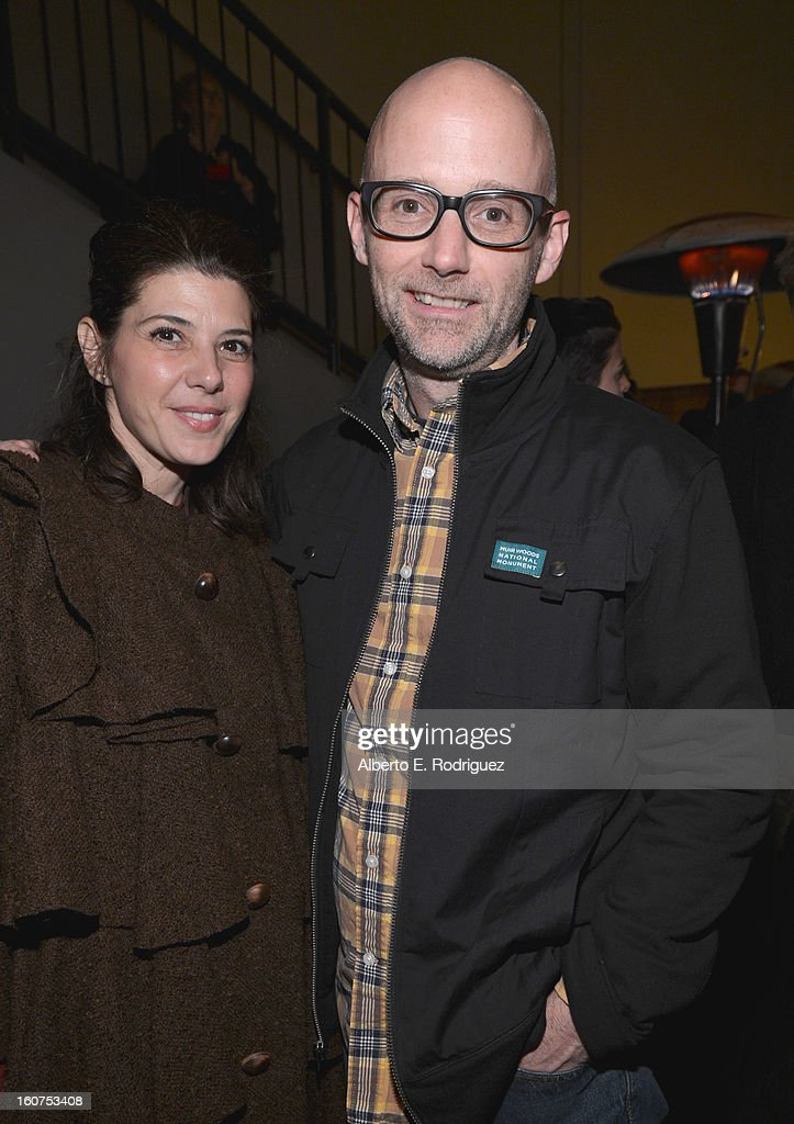 Actress Marissa Tomei and singer <a gi-track='captionPersonalityLinkClicked' href=/galleries/search?phrase=Moby&family=editorial&specificpeople=203129 ng-click='$event.stopPropagation()'>Moby</a> attend the after party fot the Los Angeles premiere of A24's 'A Glimpse Inside The Mind Of Charles Swan III' at ArcLight Hollywood at ArcLight Hollywood on February 4, 2013 in Hollywood, California.