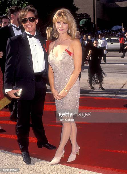 Actress Markie Post and husband writer Michael A Ross attend the 44th Annual Primetime Emmy Awards on August 30 1992 at Pasadena Civic Auditorium in...