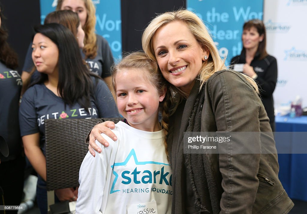 Actress <a gi-track='captionPersonalityLinkClicked' href=/galleries/search?phrase=Marlee+Matlin&family=editorial&specificpeople=173454 ng-click='$event.stopPropagation()'>Marlee Matlin</a> and patient Cassie attend the Starkey Hearing Foundation hearing mission during Super Bowl weekend 2016 at San Francisco State University on February 6, 2016 in San Francisco, California.