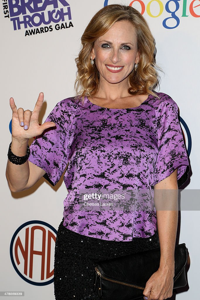 Actress <a gi-track='captionPersonalityLinkClicked' href=/galleries/search?phrase=Marlee+Matlin&family=editorial&specificpeople=173454 ng-click='$event.stopPropagation()'>Marlee Matlin</a> arrives at the National Association Of The Deaf's 1st annual Breakthrough Awards at Hollywood Roosevelt Hotel on March 13, 2014 in Hollywood, California.