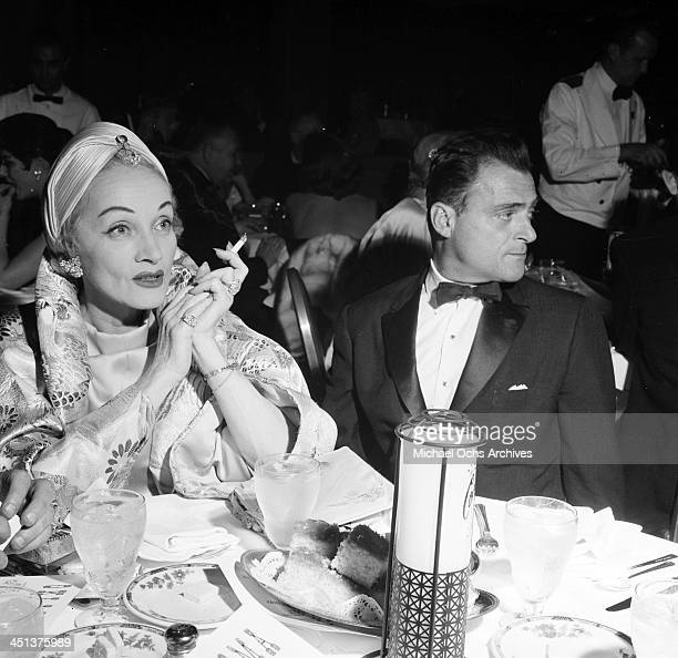 Actress Marlene Dietrich and Mike Todd at dinner in Los Angeles California