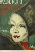 Actress Marlene Dietrich appears on a Swedish poster for the Paramount Pictures movie 'The Scarlet Empress' titled 'Röda kejsarinnan' 1934 The film...