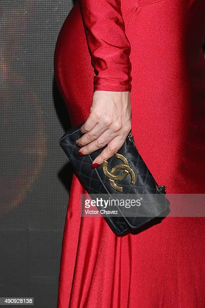 Actress Marlene Favela clutch detail attends the 'Pasion y Poder' press conference at Live Aqua Bosques on October 1 2015 in Mexico City Mexico