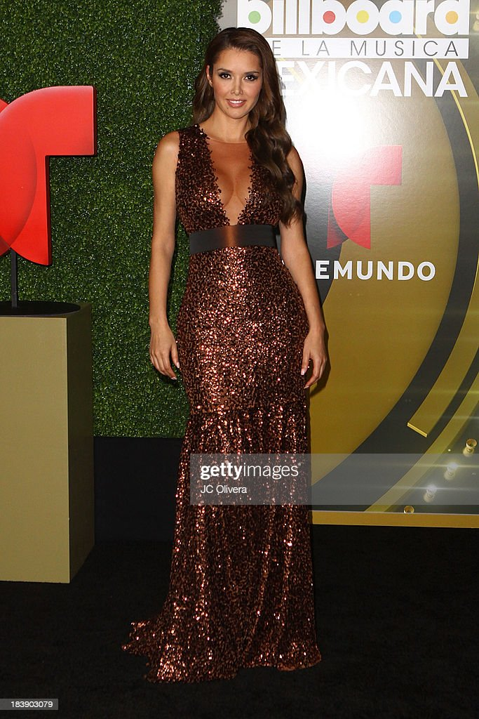 Actress <a gi-track='captionPersonalityLinkClicked' href=/galleries/search?phrase=Marlene+Favela&family=editorial&specificpeople=750960 ng-click='$event.stopPropagation()'>Marlene Favela</a> poses for a photograph at The 2013 Billboard Mexican Music Awards - Press Room at Dolby Theatre on October 9, 2013 in Hollywood, California.