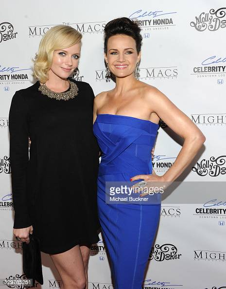 Actress Marley Shelton and actress Carla Gugino arrive at the premiere of 'The Mighty Macs' at the Arclight Theatres on October 20 2011 in Los...