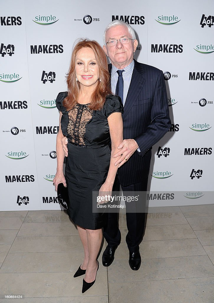 Actress <a gi-track='captionPersonalityLinkClicked' href=/galleries/search?phrase=Marlo+Thomas&family=editorial&specificpeople=209421 ng-click='$event.stopPropagation()'>Marlo Thomas</a> and TV Personality <a gi-track='captionPersonalityLinkClicked' href=/galleries/search?phrase=Phil+Donahue&family=editorial&specificpeople=718153 ng-click='$event.stopPropagation()'>Phil Donahue</a> arrives at 'MAKERS: Women Who Make America' New York Premiere at Alice Tully Hall on February 6, 2013 in New York City.