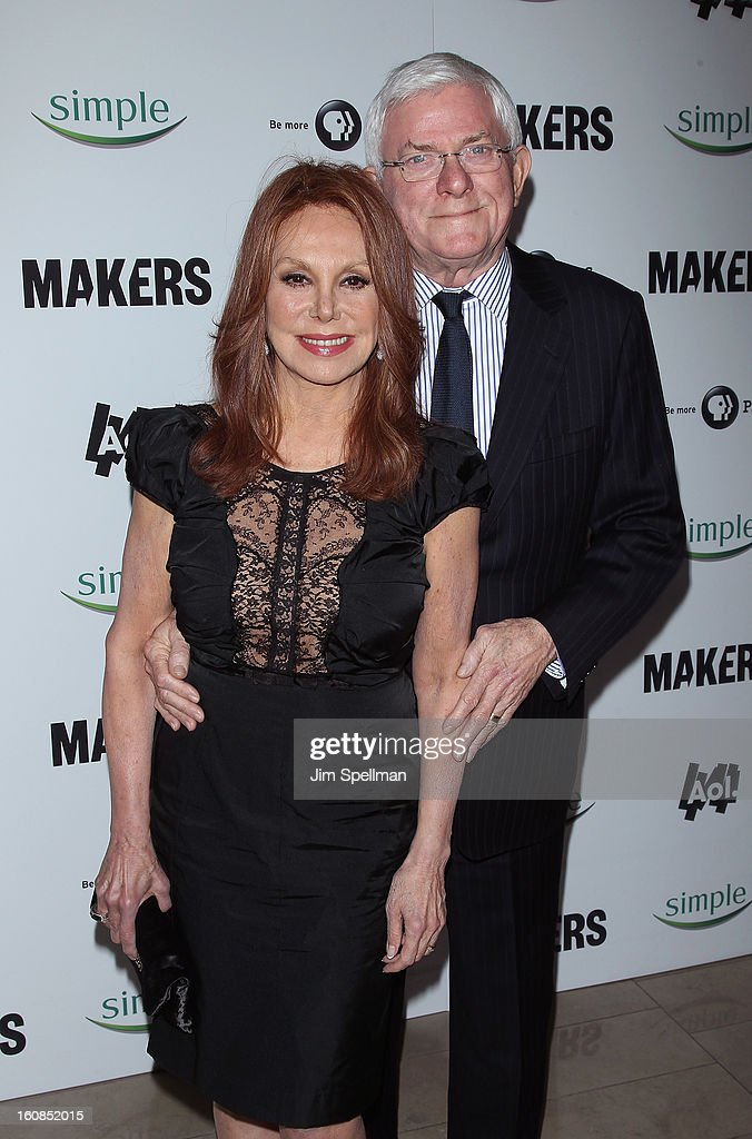 Actress <a gi-track='captionPersonalityLinkClicked' href=/galleries/search?phrase=Marlo+Thomas&family=editorial&specificpeople=209421 ng-click='$event.stopPropagation()'>Marlo Thomas</a> and TV Personality <a gi-track='captionPersonalityLinkClicked' href=/galleries/search?phrase=Phil+Donahue&family=editorial&specificpeople=718153 ng-click='$event.stopPropagation()'>Phil Donahue</a> attend the 'Makers: Women Who Make America' New York Premiere at Alice Tully Hall at Lincoln Center on February 6, 2013 in New York City.