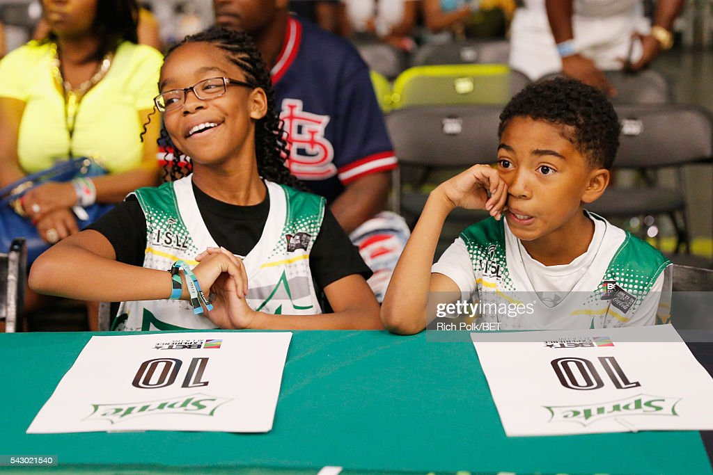Actress Marsai Martin (L) and actor Miles Brown participate in the celebrity basketball game presented by Sprite during the 2016 BET Experience on June 25, 2016 in Los Angeles, California.